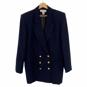 Christian Dior Vintage Womens Double Breasted Blue Blazer Jacket with Gold Butto